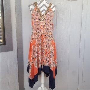Sleeveless V Neck Beaded Midi Dress Cream Coral